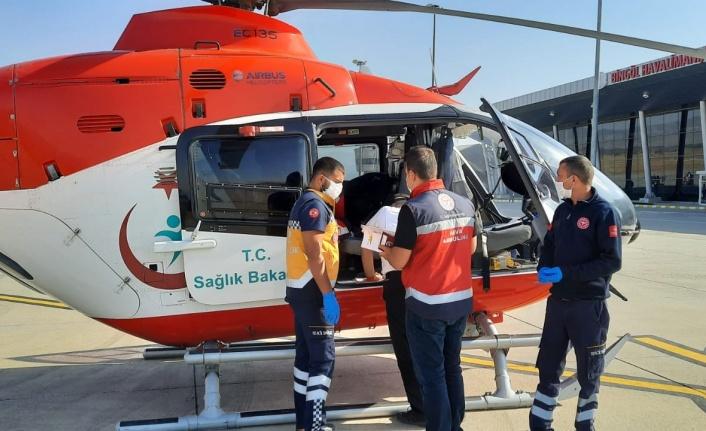 Hasta, ambulans helikopterle sevk edildi