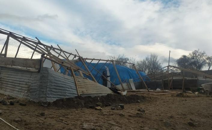 Elazığ'da rüzgar  ağılın çatısını uçurdu
