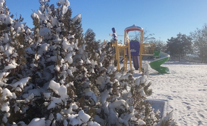 Kısıtlamayla sessizliğe bürünen Elazığ güne karla uyandı