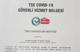"""Elazığ TSO """"TSE COVID-19 Güvenli Hizmet Belgesi""""..."""