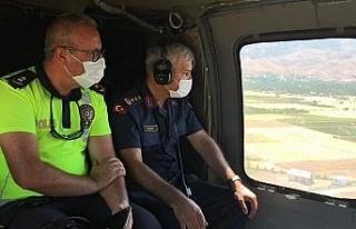Elazığ'da helikopter destekli trafik denetimi