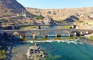 Yüzlerce yıllık Palu Köprüsü tarihe meydan okuyor