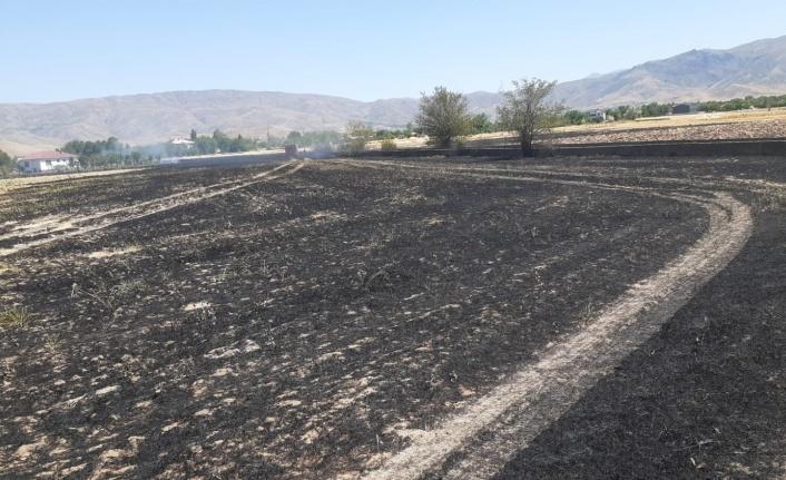 Elazığ'da yangın,arpa ekili arazi kül oldu